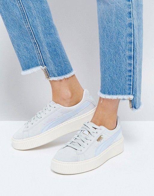 puma plateau sneaker damen blau