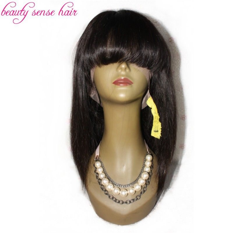 Find More Human Wigs Information About Best Quality  Density Human Hair Full Lace Wigs With Bangs  Virgin Malaysian Bob Lace Front Wigs For Black