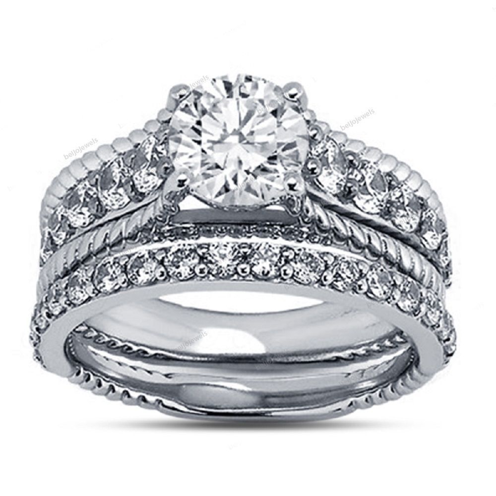 0.90 Carat Simulated Diamond Bridal Ring Set in 14K White
