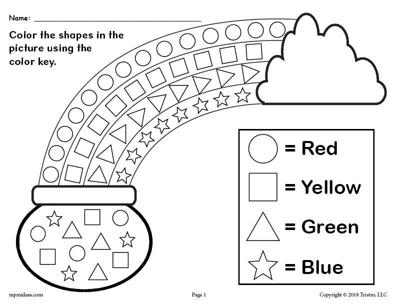 FREE Printable St. Patrick's Day Shapes Coloring Worksheet