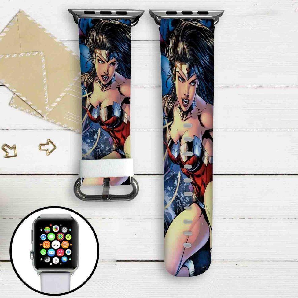 Wonder Woman DC Comics Custom Apple Watch Band Leather