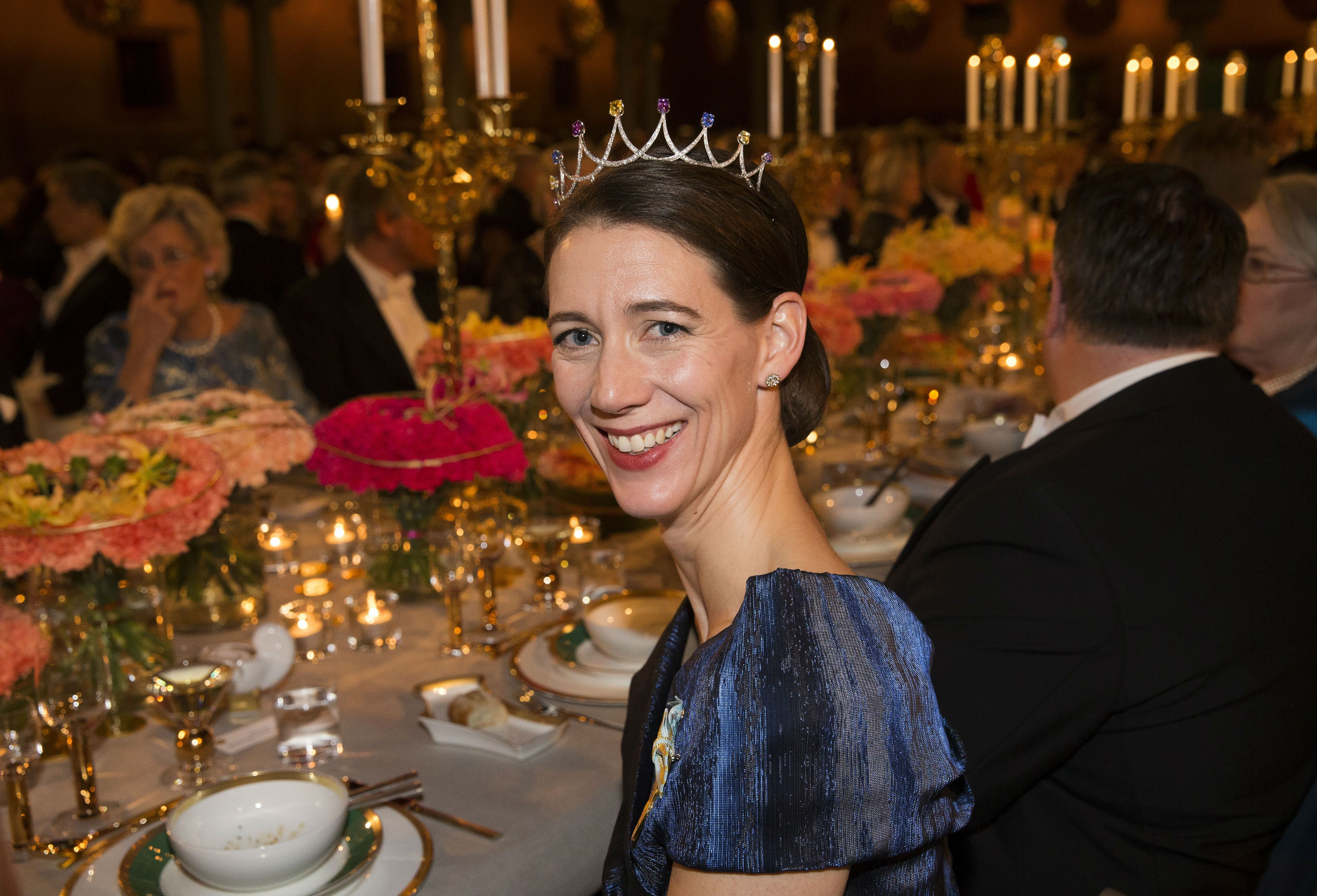 In the wake of the 2015 Noble Prize banquet, a good close up of Countess Bettina Bernadotte, wearing her multi-gem tiara