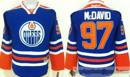 91b53387 Youth Edmonton Oilers #97 Connor Mcdavid Blue Jersey | Youth NHL ...