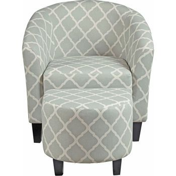 Antonia Fabric Accent Chair and Ottoman