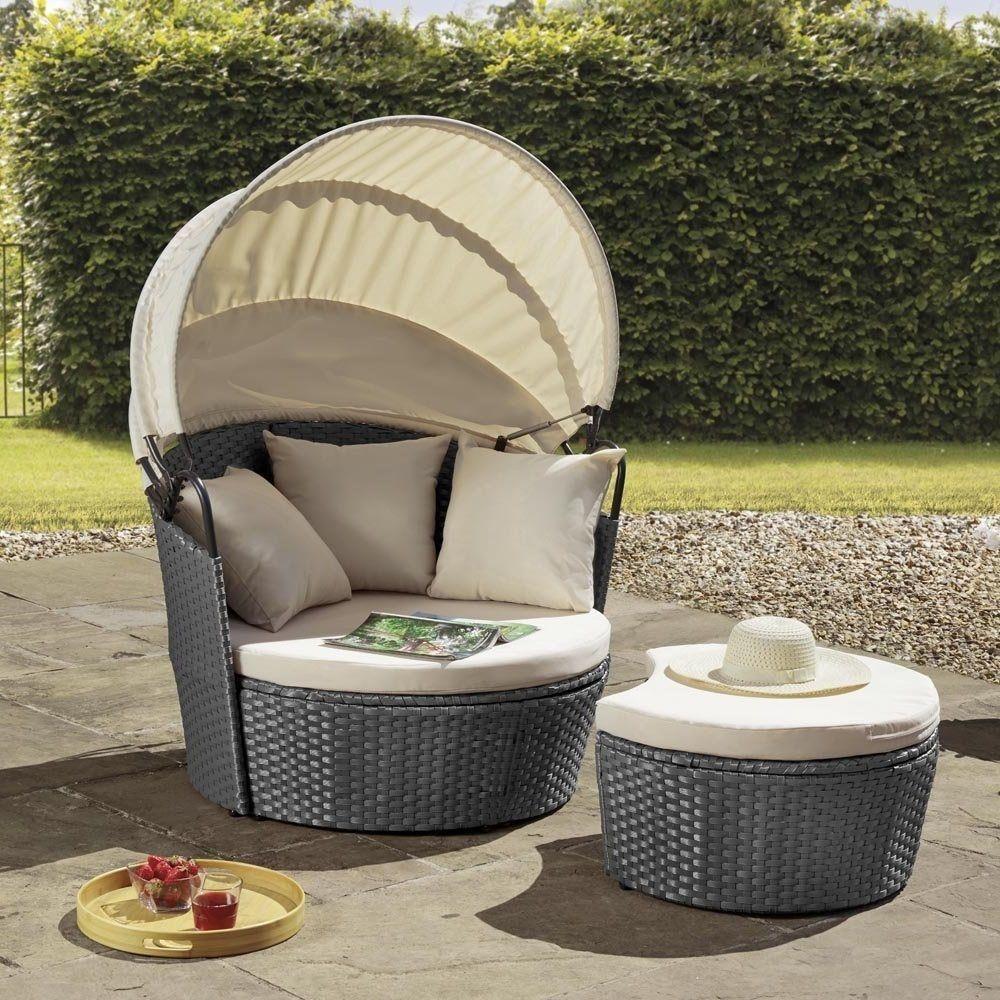 Rattan Day Bed Chair Sun Lounger Folding Canopy Sun Shade