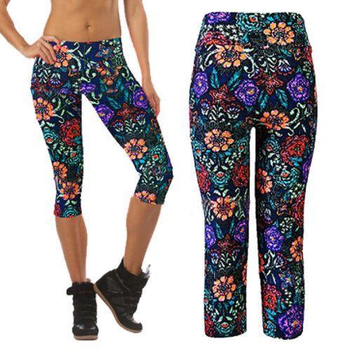 High Waist Yoga Capri Leggings - Floral