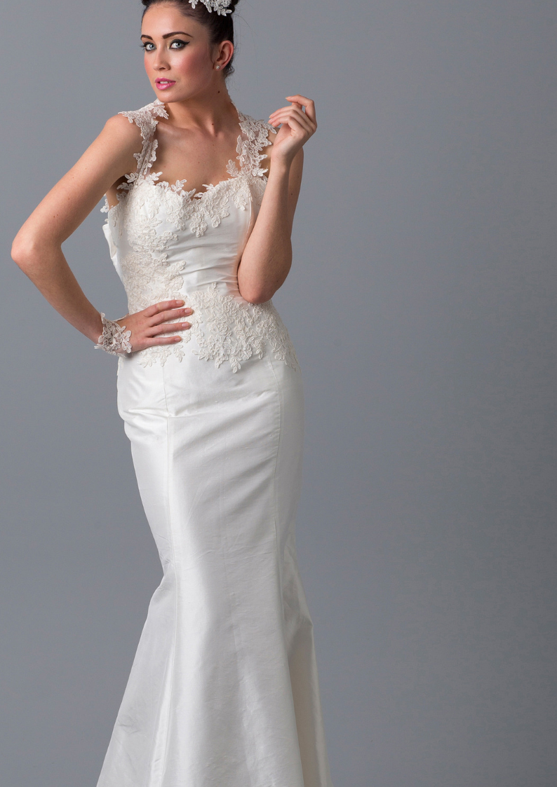 Polly // Ivory Silk Lace Fishtail Wedding Dress Lace