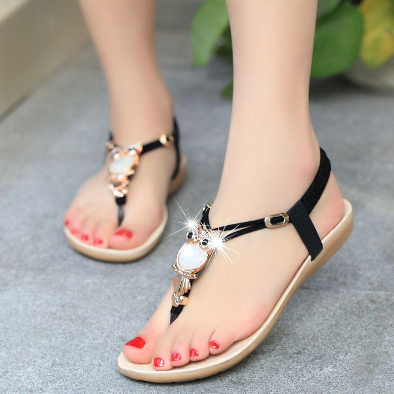 Hot Sale!Women Peep-Toe Flat SandalsZYUPUP Summer Bohemia Style Flower Beads Flip-Flop Shoes