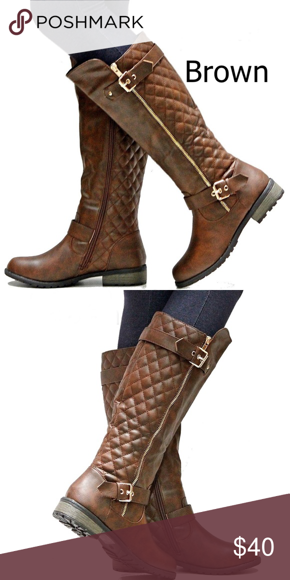 New Brown Quilted Knee High Riding Boots 8 5 To 10 Boutique With Images Stacked Heel Boots Boots Riding Boots