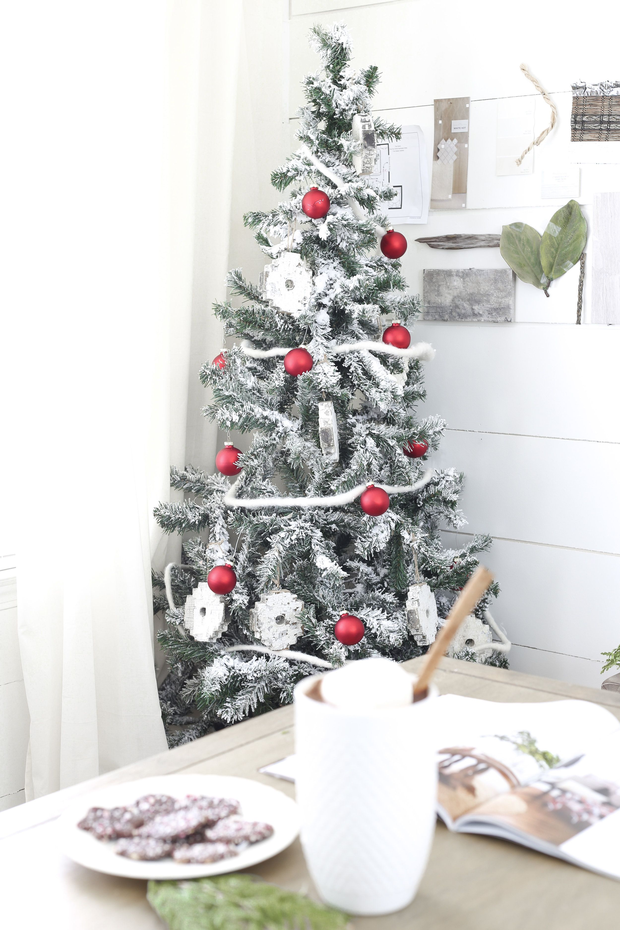christmas home tour holiday office decor red and white christmas tree plum pretty