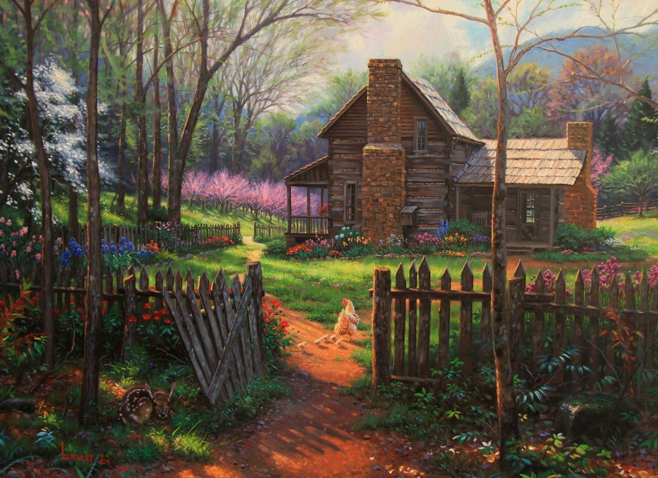 Wallpaper Fall Farmhouse Goats Beautiful Paintings Of Cabins Bing Images Country