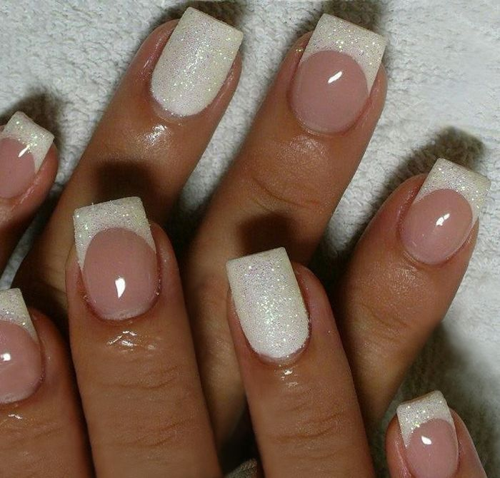 Bridal Wedding Nail Art Design White Glitter Tips With Accent