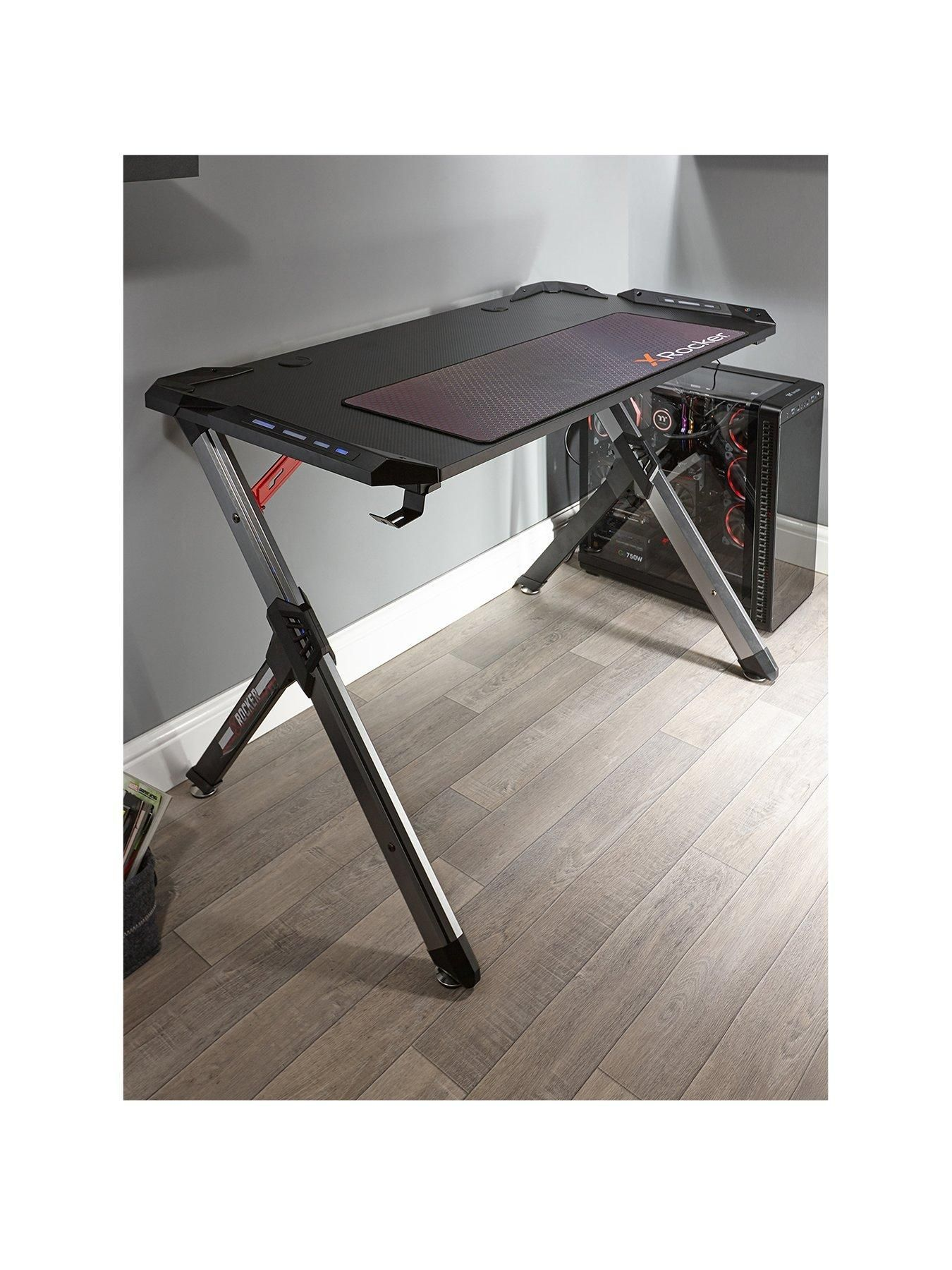 X Rocker Lynx Pc Gaming Desk in Black #gamingdesk X Rocker Lynx Pc Gaming Desk in Black #gamingdesk