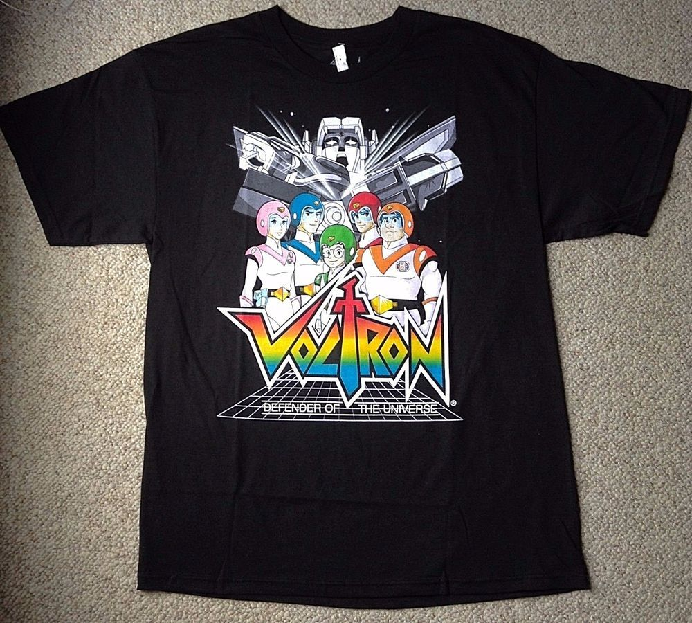 New Mens(Lrg) VOLTRON T-SHIRT Black&Rainbow 100%Cotton Defender of the