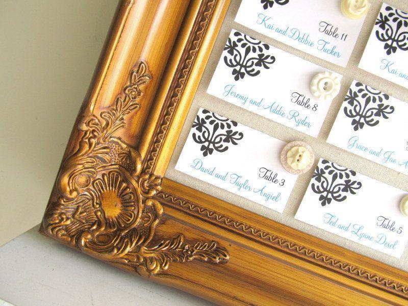 ESCORT CARD HOLDER Large Framed Magnet Board Wedding Seating Chart Picture Display Antique Gold Ivory Ornate