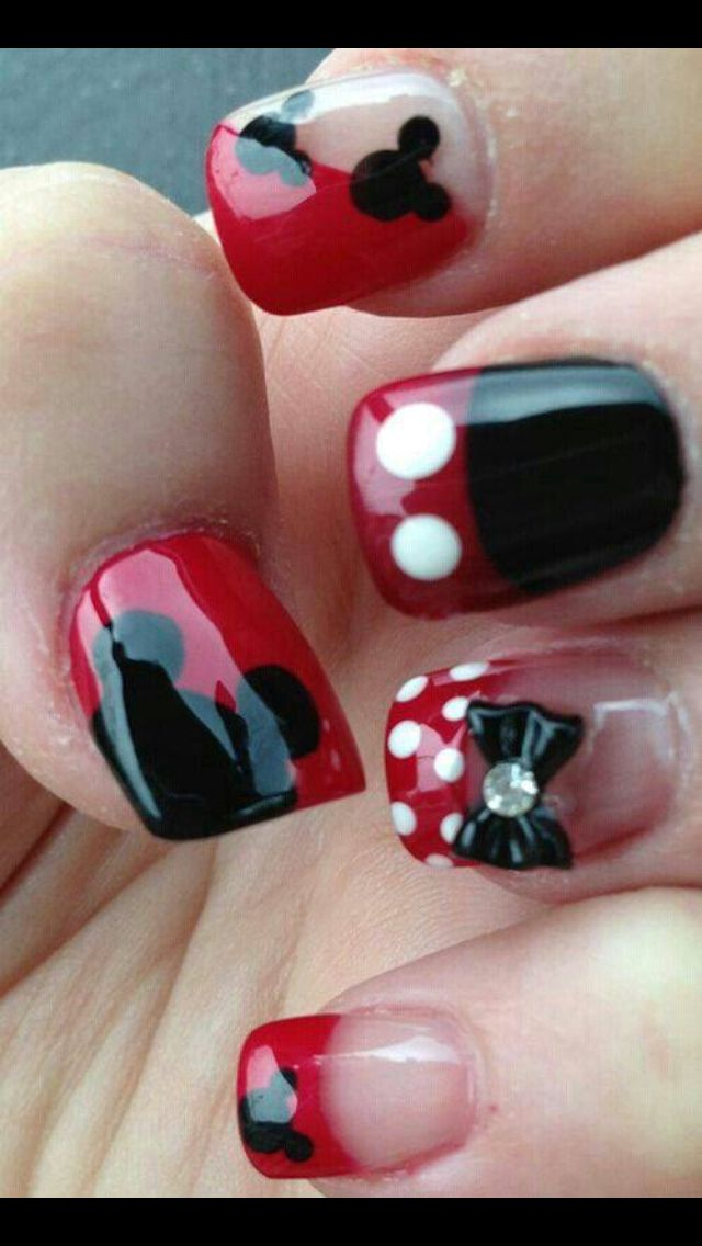 Minnie and Mickey Mouse! Perfect for Disneyland! | Uñas 3 ...