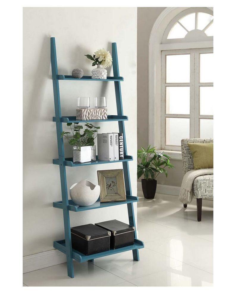 Ladder Bookshelf Bookcase Shelves Storage Blue French Country Style Ladder Bookshelf Bookshelves Leaning Bookcase