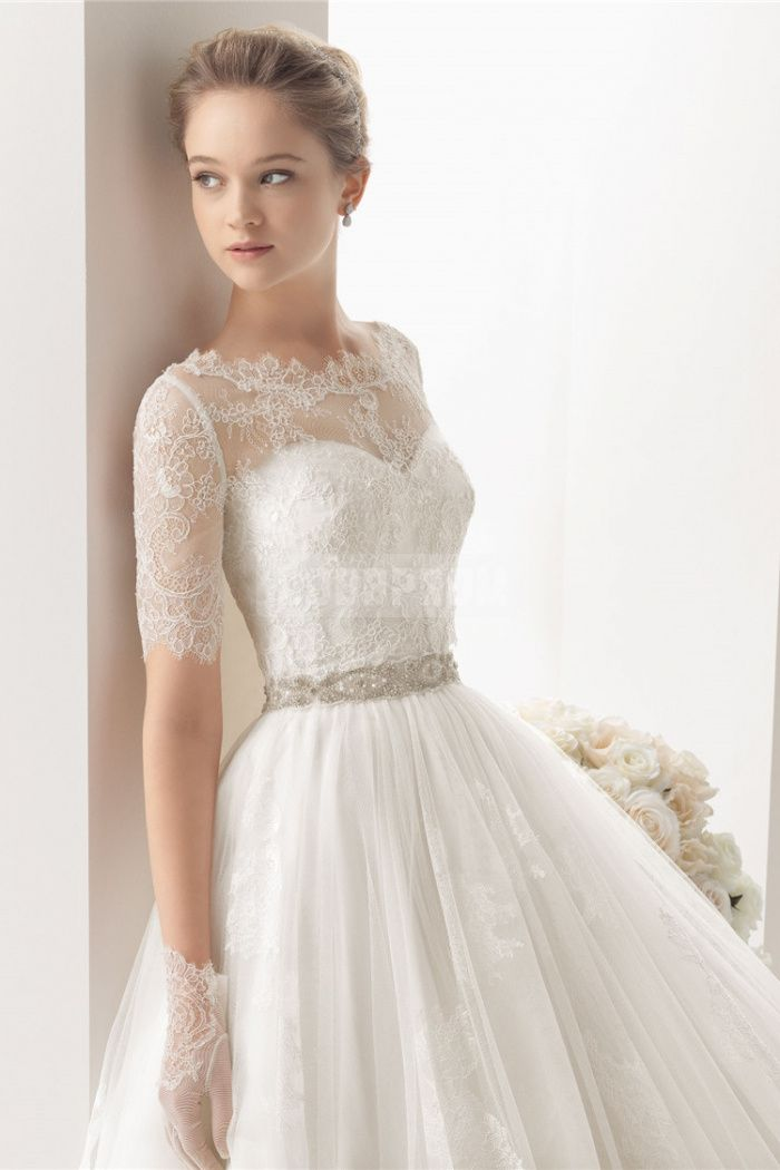 Lace waist wedding dress