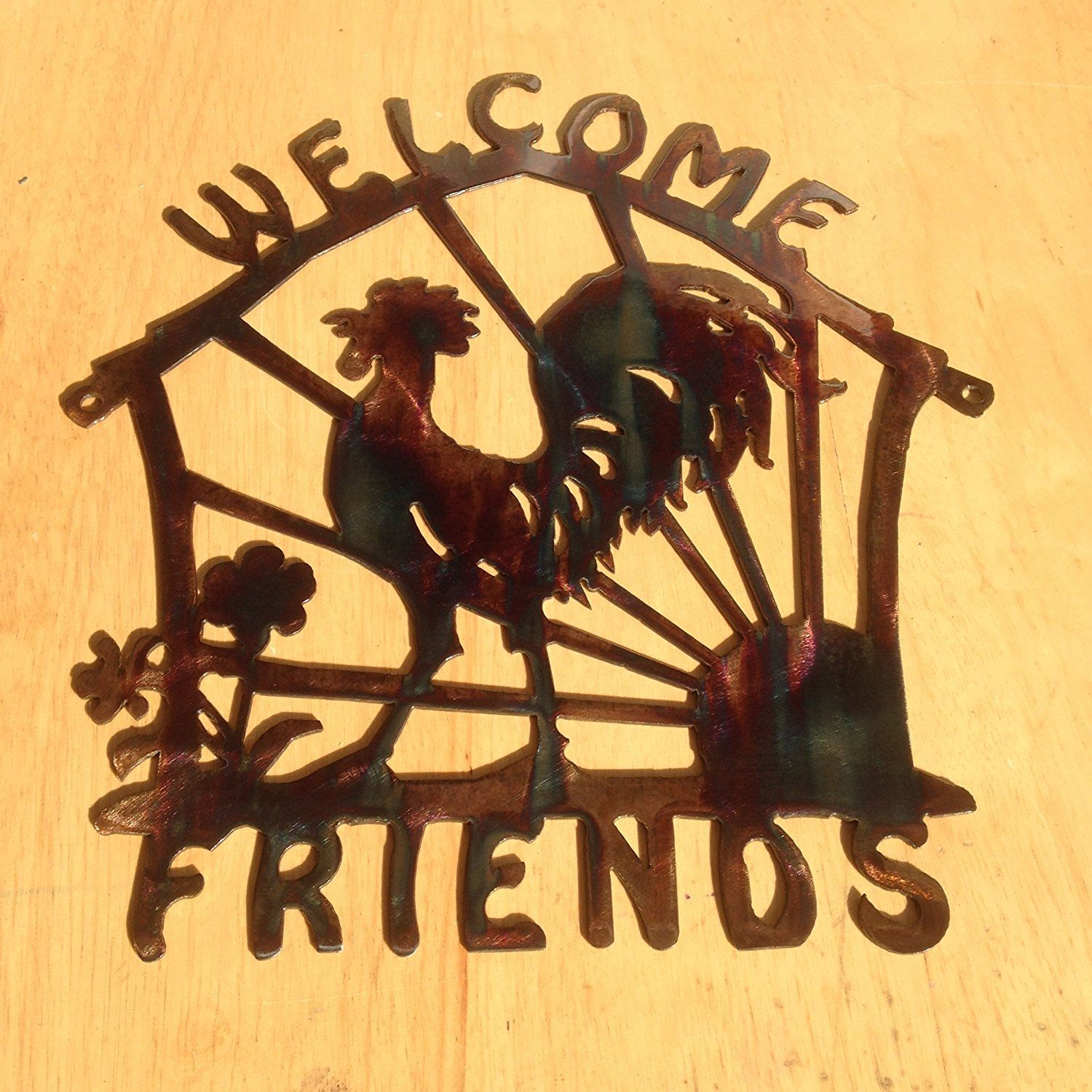 Welcome Sign Welcome Friends Rooster Metal Wall Art (D4) * Don\'t get ...