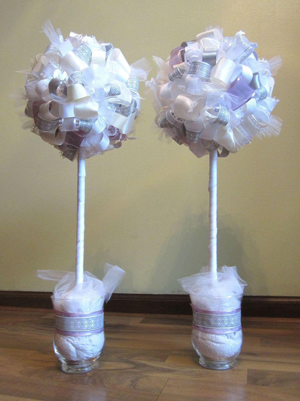Lilac wedding decoration ideas  White Silver Cream and Light Purple Ribbon Topiary Set  Wedding