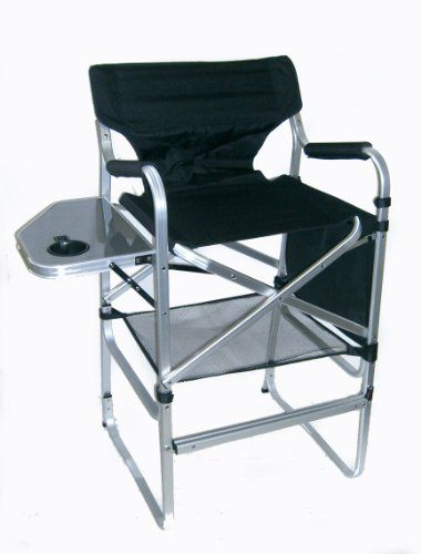 the professional tall directors folding chair with side table cup