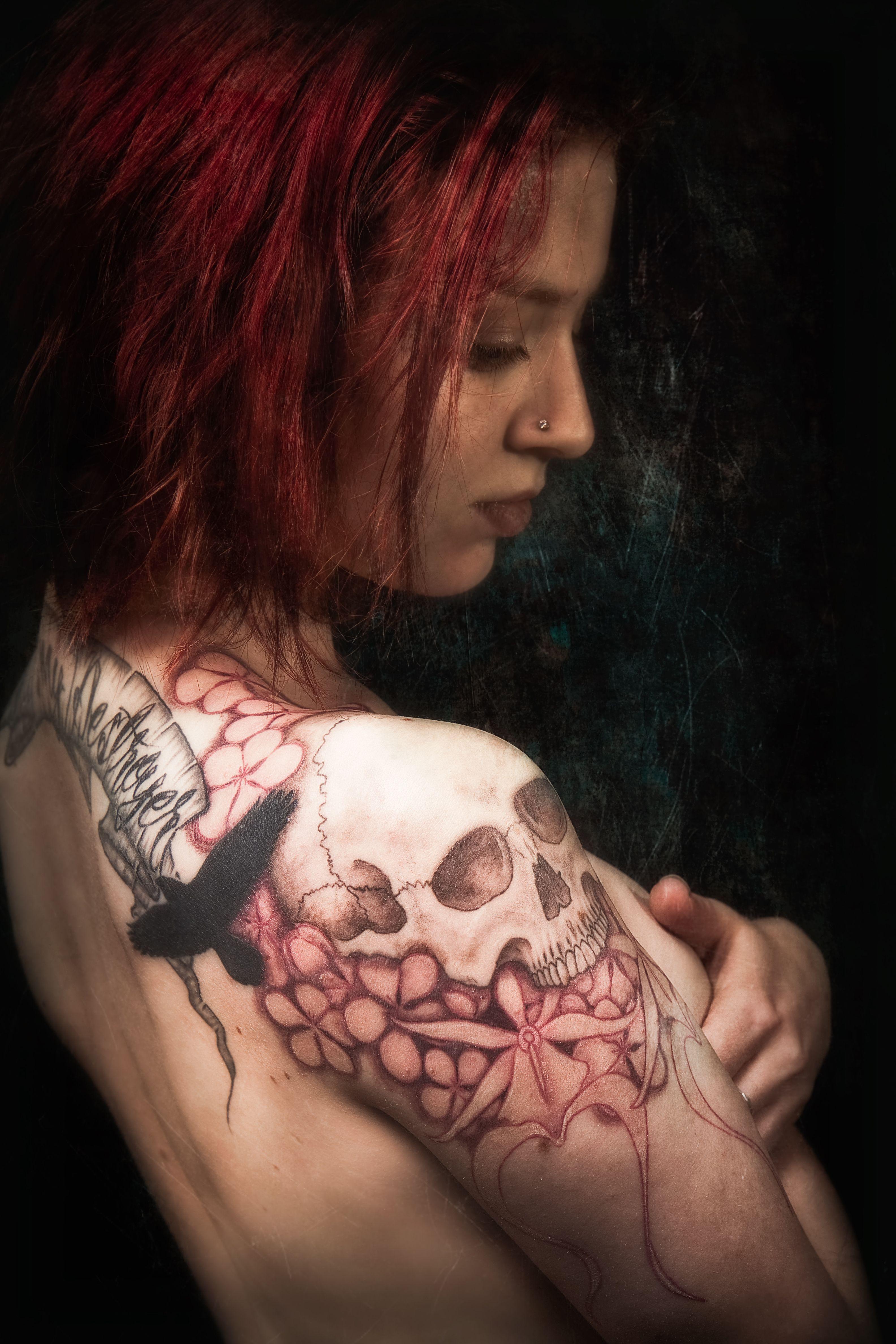 Cool tattoo ideas girls shoulder skull prophoto by meatshoptattooviantart on