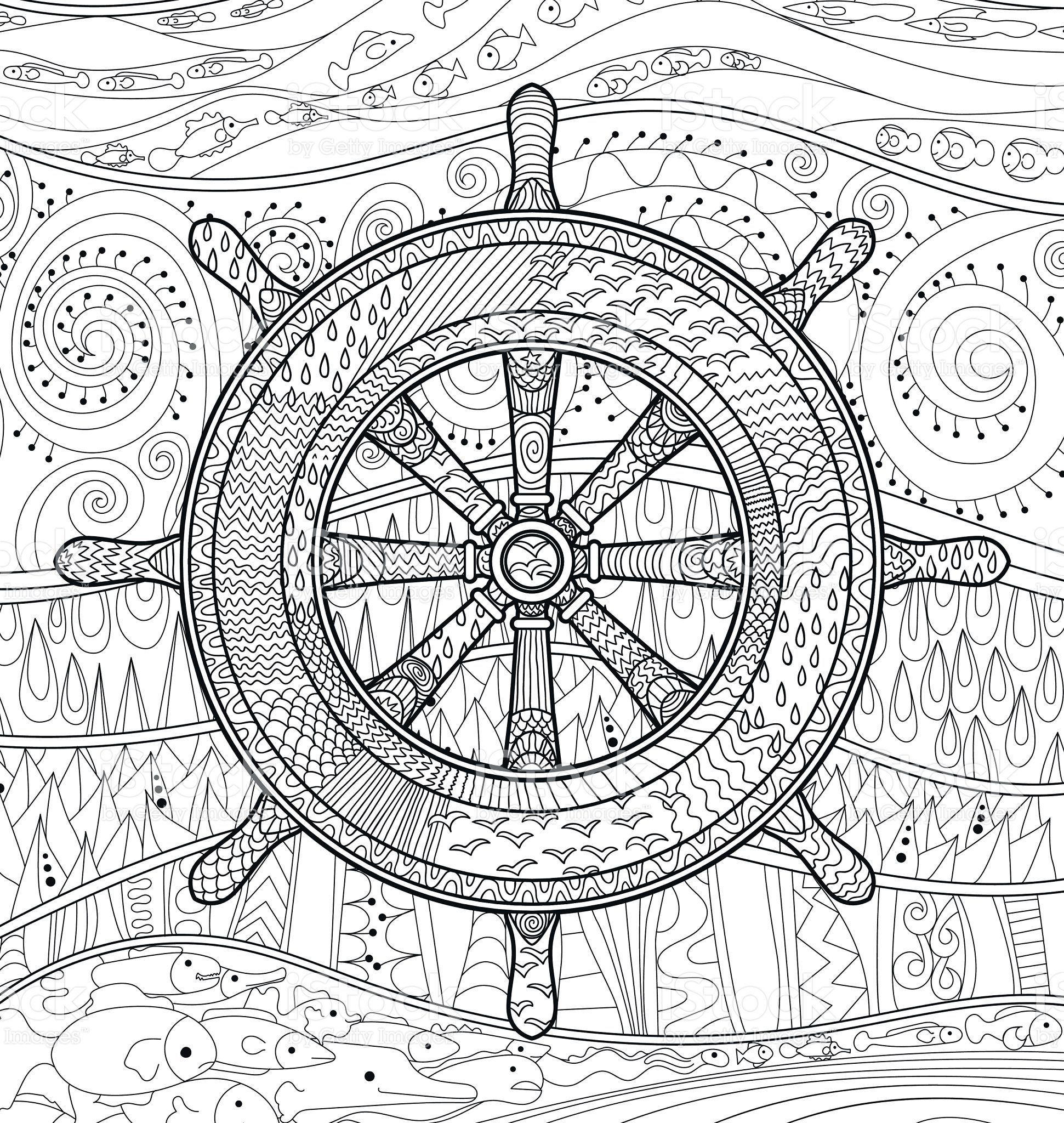 Hand drawn illustration of an helm adult antistress coloring page