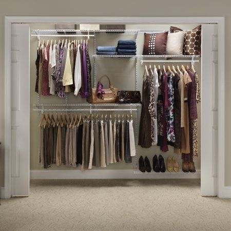 Closetmaid Shelftrack Closet Organizer Kit 5 To 8 Walmart Com In 2020 Adjustable Closet Organizers Closet Organizer Kits Closet Organizing Systems