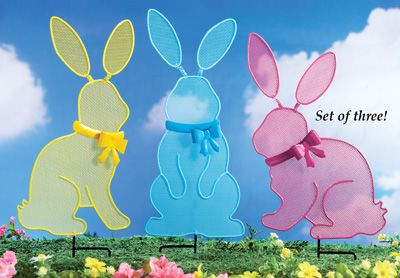 Easter Bunny Mesh Garden Stakes   Set Of 3