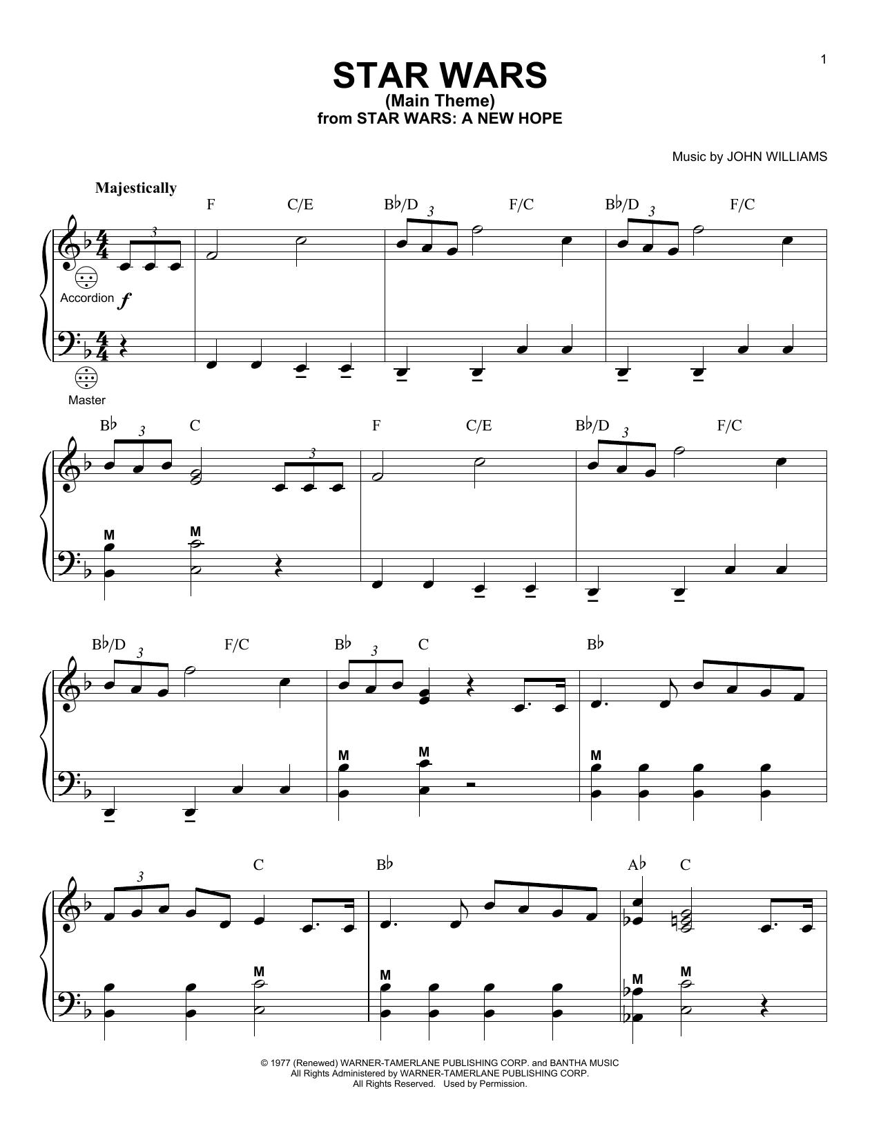 Download accordion sheet music to star wars main theme by john download accordion sheet music to star wars main theme by john williams and print hexwebz Choice Image
