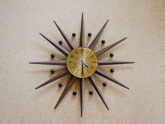 Mid Century Seth Thomas Atomic Starburst Wall Clock, Mid Century Modern  Sunburst Clock, Mad