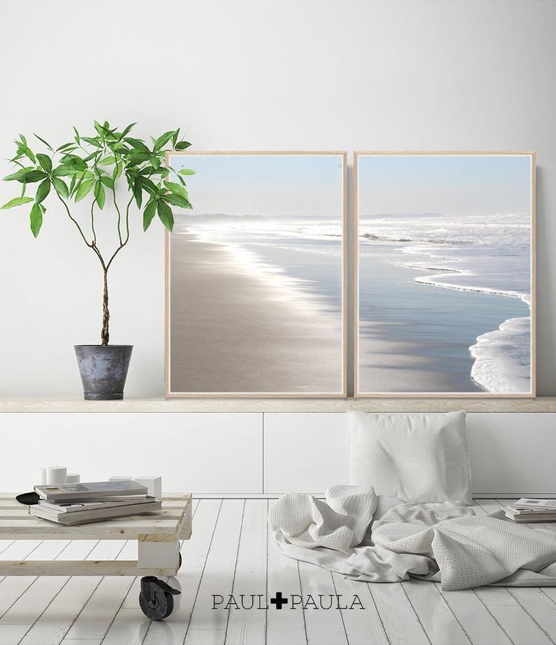Strand-Fotografie, Ozean Druck, druckbare Wandkunst, Küsten Dekor, digitaler Download, Meer Wasser Ozean, Pastell Silber und blau, Strand Küste