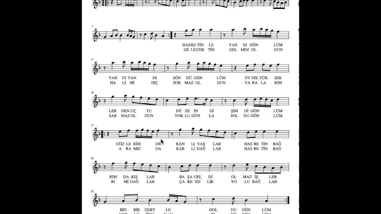 Ney Dersleri Hasretinle Yandi Gonlum Solfej Muzik Yaya Okuma