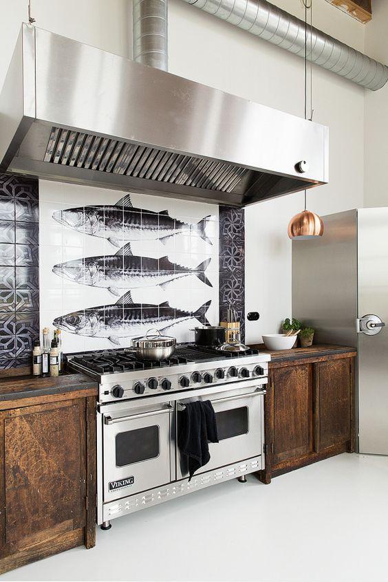 crédence carrelage dessin poissons cuisine originale Kitchen