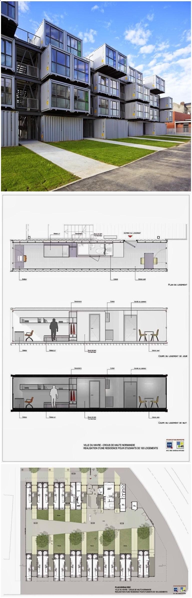 Container house container apartment cité a docks france