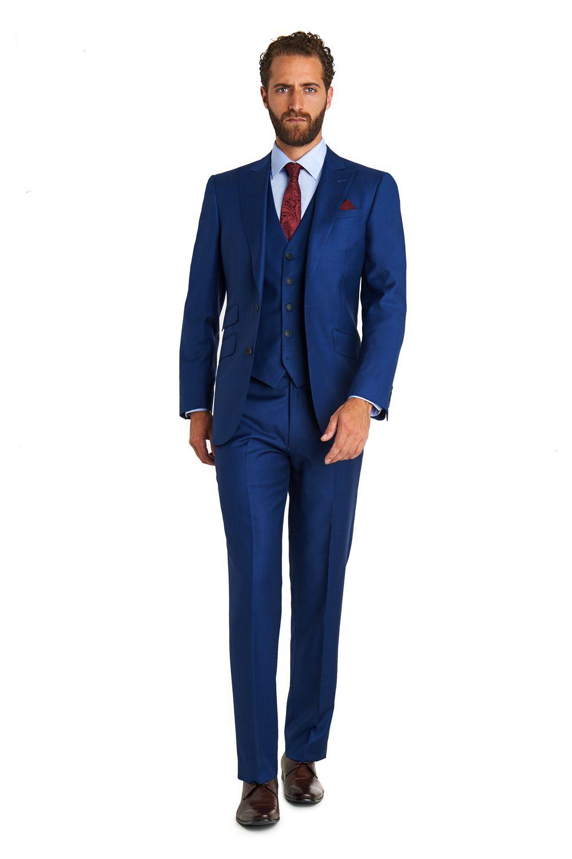 Moss 1851 Tailored Fit Plain Blue 3 Piece Suit | Eduardo Style ...