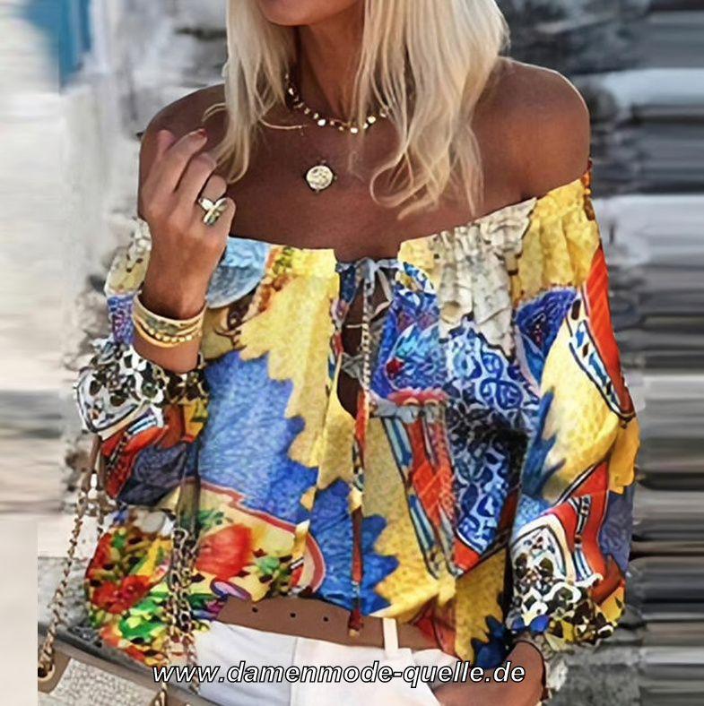 - Damen Oberbekleidung | Schulterfreies Langarm Print ...