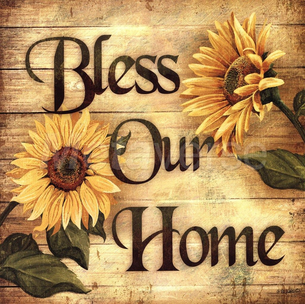 Bless our home sunflower blessings wall floral country art kitchen ...