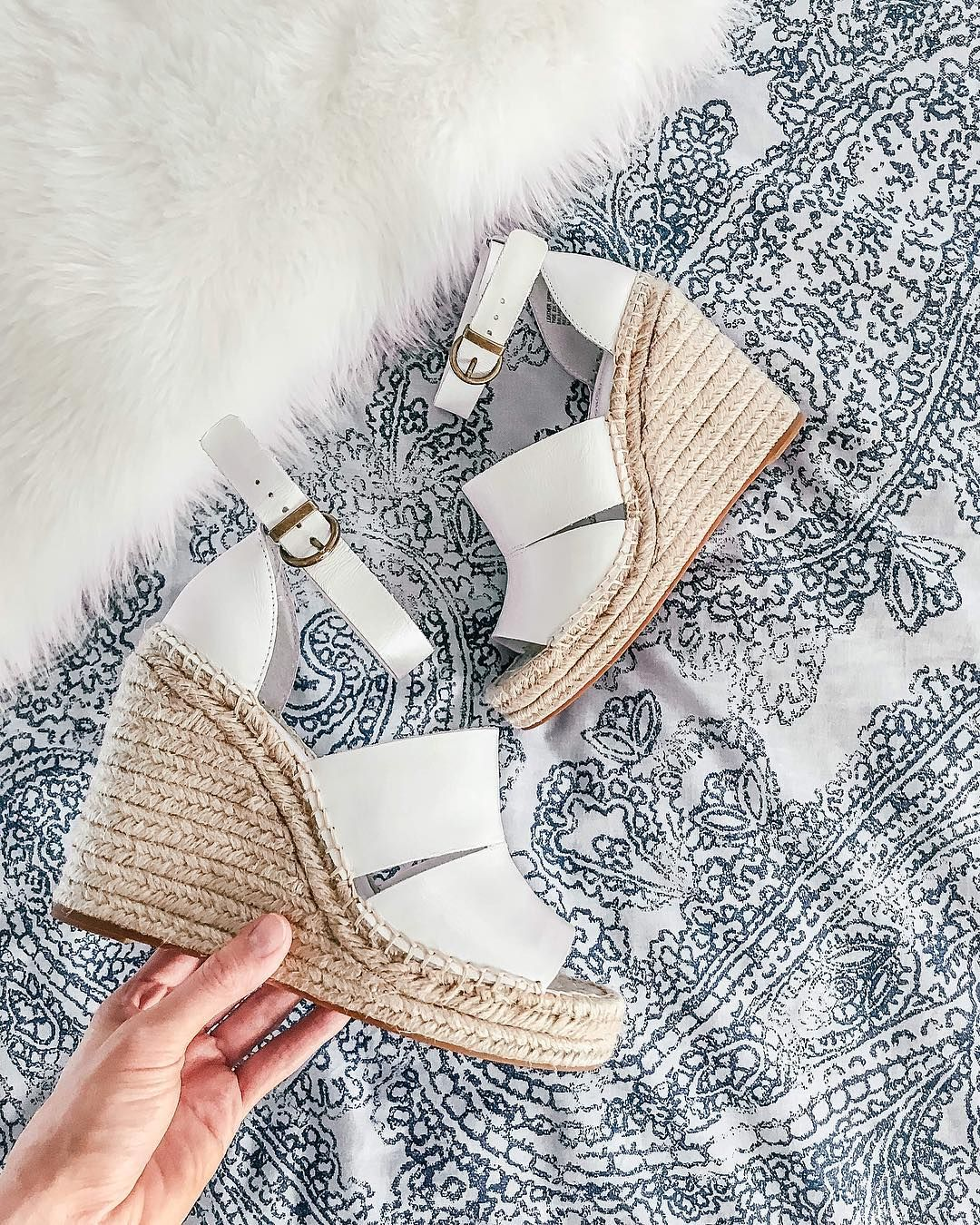 a2b283fdc Must Have Spring and Summer White Wedges | The Pretty Walk Blog Instagram | Treasure and Bond Sannibel Platform Wedge Sandal White | Spring Shoes |  Spring ...