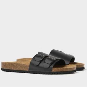 Zara Mens Contrast Leather Sandals