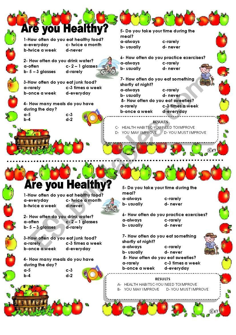 Ask Students To Answer The Quiz And Check If They Have Health Habits In 2020 Health Habits Health Quiz Health
