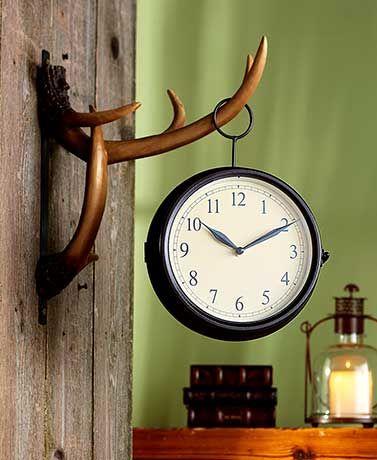 Antler Wall Clock Wall Clock Clock Lodge Decor