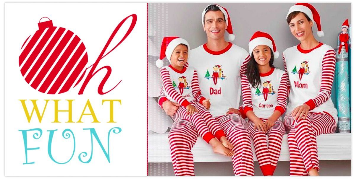 36a6a1e075 Oh What Fun Family Matching Elf on a Shelf Pajama Holiday Photo Cards