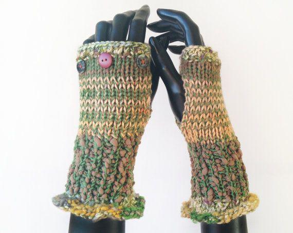 Green Fingerless Gloves  Lichen Frilly Fingers  by StripyKite