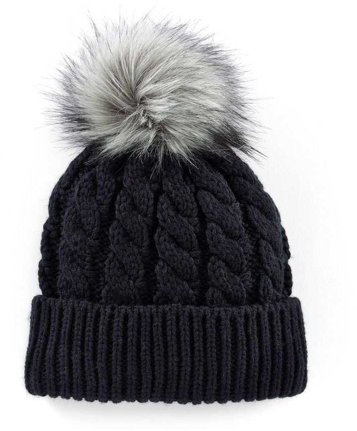 Shop for Faux-Fur Pom-Pom Cable-Knit Beanie Hat by Madden-Girl at  ShopStyle. Now for Sold Out. 6273b872ba3c