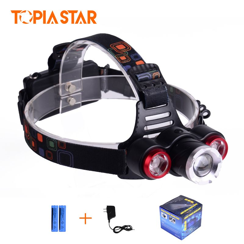 TOPIA SATR Outdoor Activities 3 Lights Source Headlamp, Led Powerful T6 Q5 Headlamp With Multi-Function
