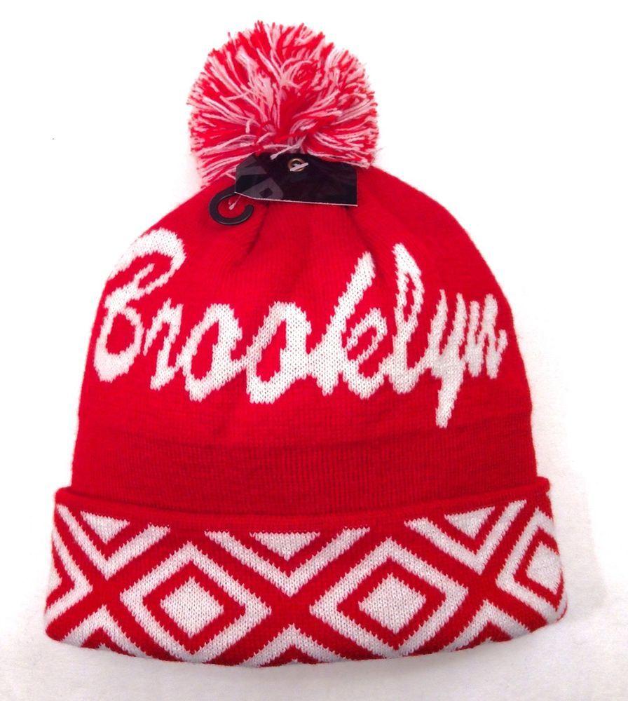 5e1b455ad8f BROOKLYN POM BEANIE Men Women Winter Knit Ski Hat Red White  Geometric-Pattern NY  Beanie
