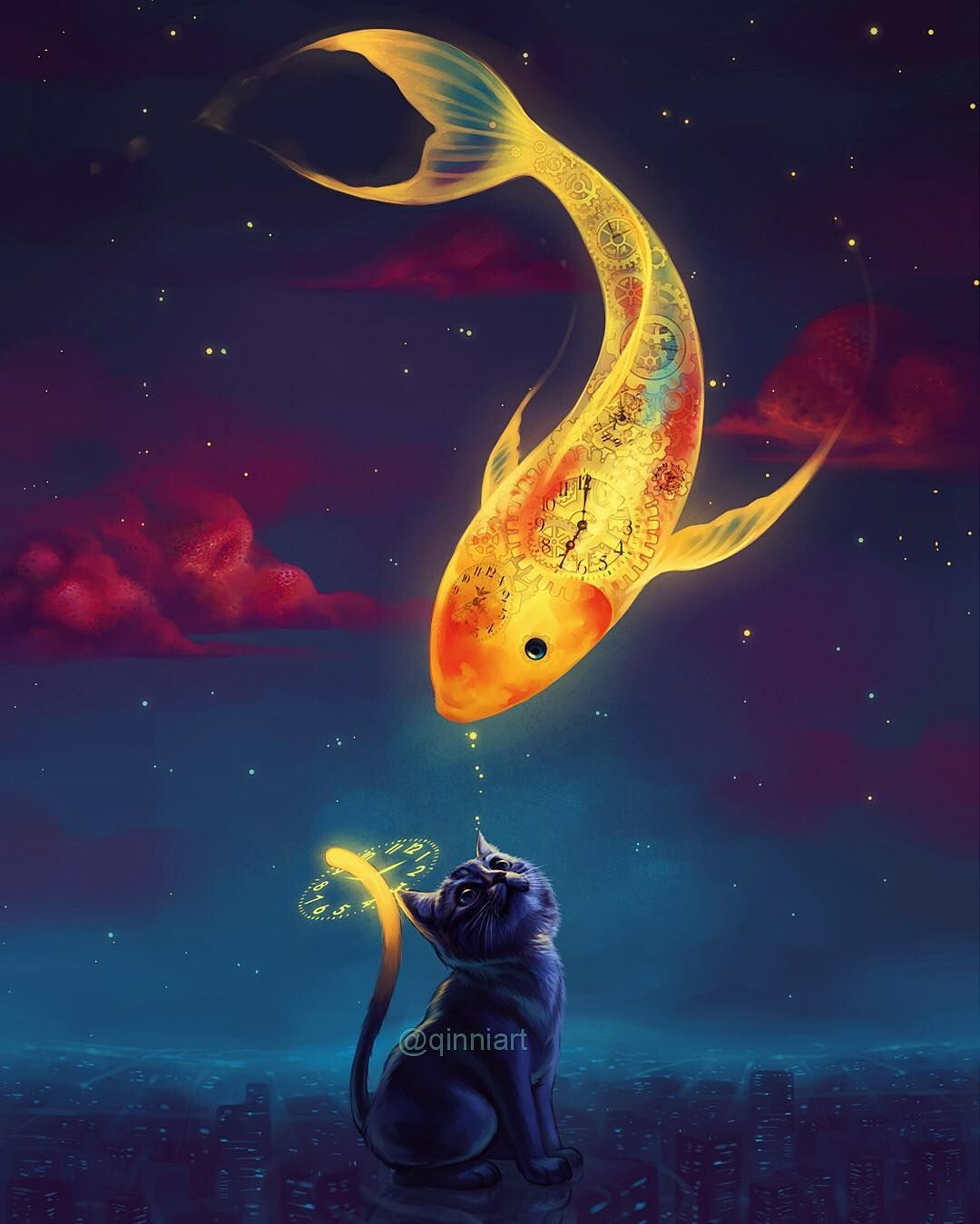"""""""To Catch the Moon Fish""""  Hey guys sorry for the lack of updates. The pressure of needing to draw and post something every day plus my mom being sick so soon after everything that's happened sort of got to me so I'm taking a bit of break from social media. I'm feeling much better now but I don't really wanna come back yet. Thanks for sticking with me guys and hello new followers  I'm sure I'll be back to drawing soon :). Hope you guys don't mind another throwback haha  by qinniart"""