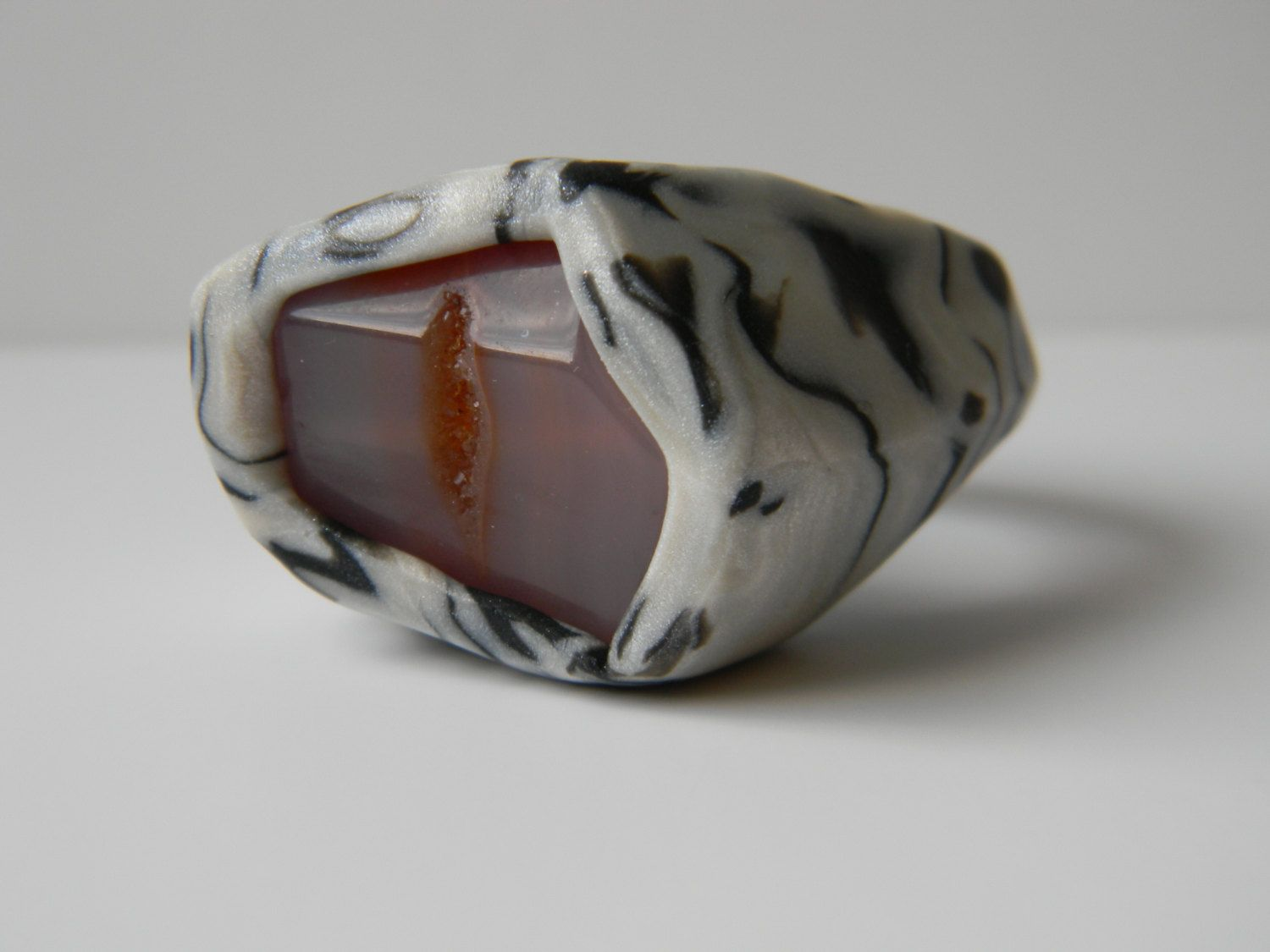 Pearl White and Black Polymer Clay Statement Ring with