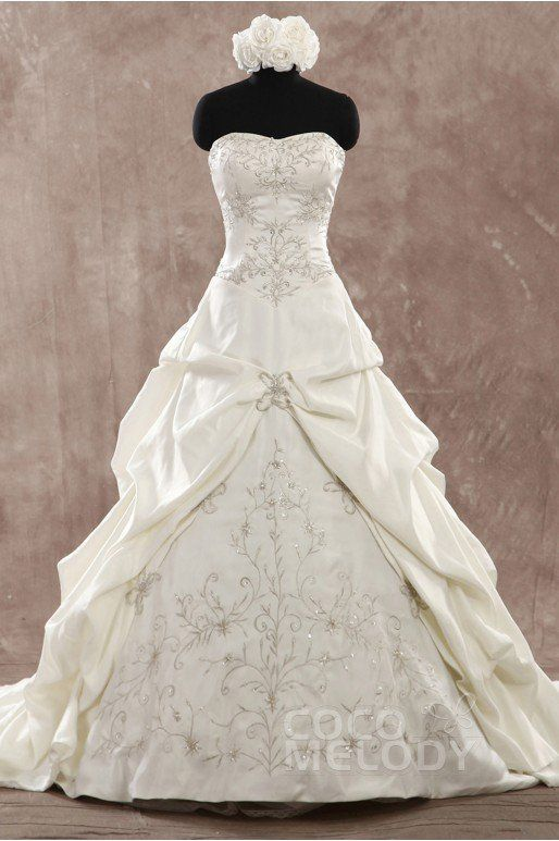 Fancy A-Line Sweetheart Chapel Train Satin Ivory In Stock Lace-up Corset Wedding Dress with Embroidery and Pick-Ups SW0030IS